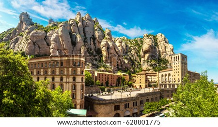 Santa Maria de Montserrat abbey in Monistrol, in a beautiful summer day, Catalonia, Spain