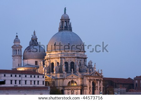 Santa Maria della Salute in Venice illuminated at night