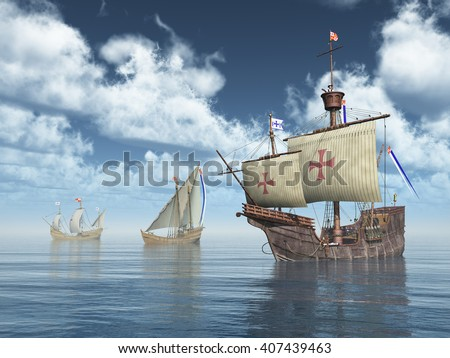 Santa Maria, Nina and Pinta of Christopher Columbus Computer generated 3D illustration Foto stock ©