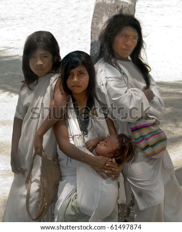 """SANTA MARTA, COLOMBIA - SEPT 4: """"KOGUI"""" Indians on Sept 4, 2010 in Santa Marta, Colombia. Descendants of the Tayrona culture, they live in isolation in the Colombian Sierra Nevada Mountains."""