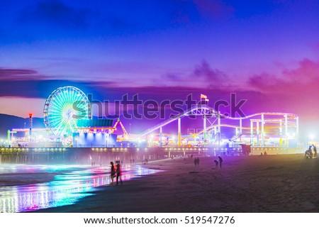 Santa Monica  beach at night  in summer season.