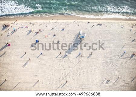 santa monica beach  drone view  ...