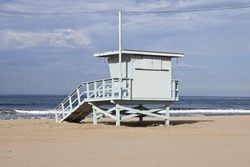 Santa Monica beach lifeguard tower in Southern California.