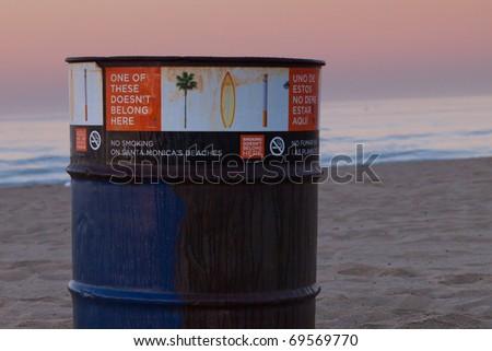 Santa Monica Beach Trash Can - No Smoking on Beach
