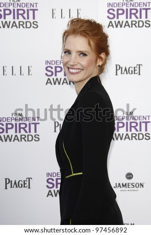 SANTA MONICA, CA - FEB 25: Jessica Chastain at the 2012 Film Independent Spirit Awards on February 25, 2012 in Santa Monica, California