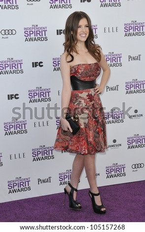 SANTA MONICA, CA - FEBRUARY 25, 2012: Anna Kendrick at the 2012 Film Independent Spirit Awards on the beach in Santa Monica, CA. February 25, 2012  Santa Monica, CA