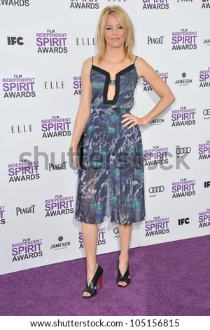 SANTA MONICA, CA - FEBRUARY 25, 2012: Elizabeth Banks at the 2012 Film Independent Spirit Awards on the beach in Santa Monica, CA. February 25, 2012  Santa Monica, CA