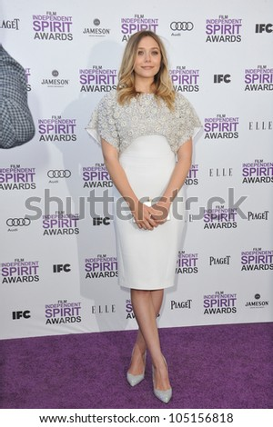 SANTA MONICA, CA - FEBRUARY 25, 2012: Elizabeth Olsen at the 2012 Film Independent Spirit Awards on the beach in Santa Monica, CA. February 25, 2012  Santa Monica, CA