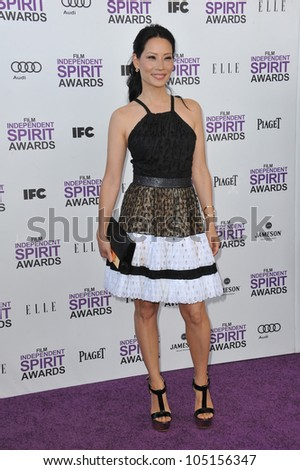 SANTA MONICA, CA - FEBRUARY 25, 2012: Lucy Liu at the 2012 Film Independent Spirit Awards on the beach in Santa Monica, CA. February 25, 2012  Santa Monica, CA