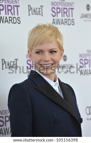 SANTA MONICA, CA - FEBRUARY 25, 2012: Michelle Williams at the 2012 Film Independent Spirit Awards on the beach in Santa Monica, CA. February 25, 2012  Santa Monica, CA