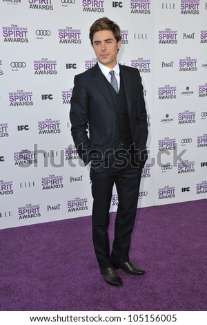 SANTA MONICA, CA - FEBRUARY 25, 2012: Zac Efron at the 2012 Film Independent Spirit Awards on the beach in Santa Monica, CA. February 25, 2012  Santa Monica, CA