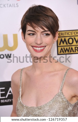 SANTA MONICA, CA - JANUARY 10, 2013: Anne Hathaway at the 18th Annual Critics' Choice Movie Awards at Barker Hanger, Santa Monica Airport.