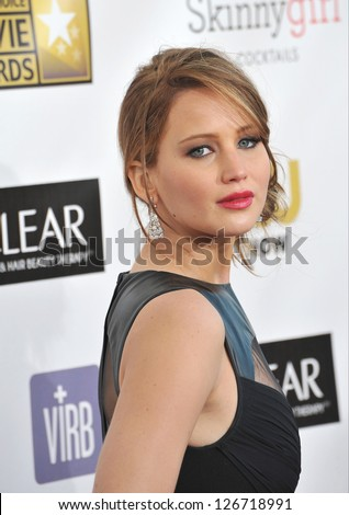 SANTA MONICA, CA - JANUARY 10, 2013: Jennifer Lawrence at the 18th Annual Critics' Choice Movie Awards at Barker Hanger, Santa Monica Airport.