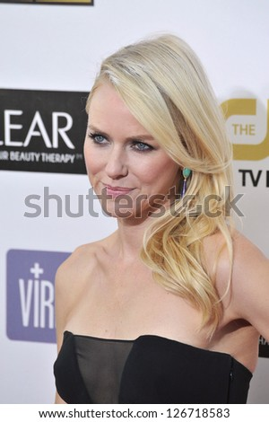 SANTA MONICA, CA - JANUARY 10, 2013: Naomi Watts at the 18th Annual Critics' Choice Movie Awards at Barker Hanger, Santa Monica Airport.