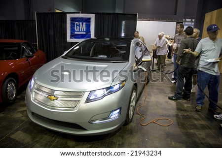 SANTA MONICA, CA - SEPTEMBER 26: The Chevrolet Volt at the 2008 Alt Car Expo, an outlet for alternative vehicles.  The Volt is slated to be GM's second production electric vehicle. Alt Car Expo September 26th 2008.