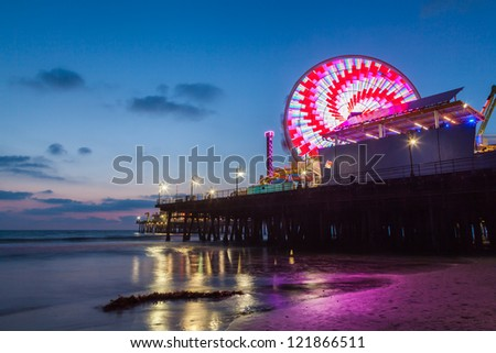 Santa Monica Pier and beach after sunset, California