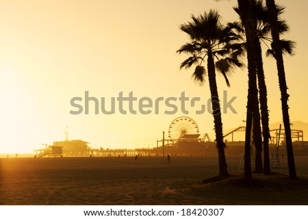 Santa Monica Pier framed by silhouetted Palm trees at dusk. There is space in the top left of the photo for copy text