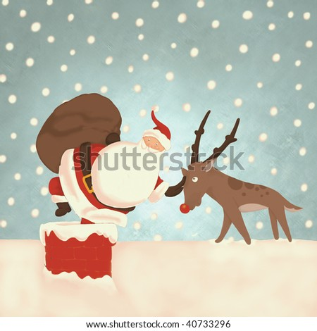 Santa on rooftop climbing down chimney  (illustration or Christmas Card design)