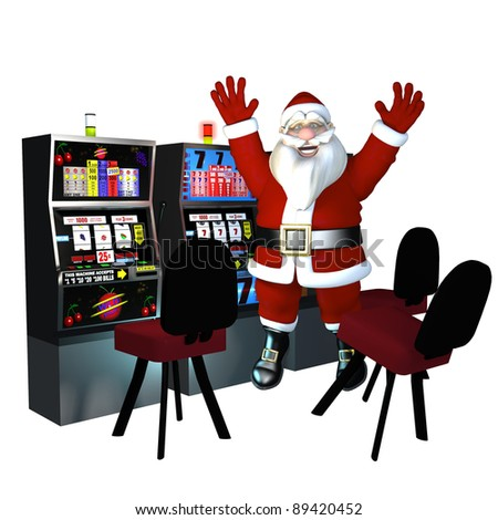 Santa Playing Slots - Winner. Santa's at the casino playing the slot machines.  He won. Isolated on a white.