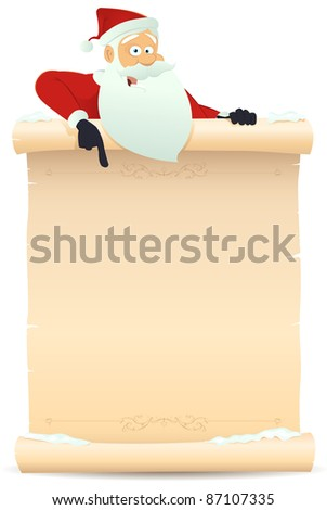 Santa Pointing Parchment Sign/ Illustration of Santa claus pointing parchment sign for children gift list