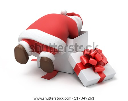 Santa prepares gifts, 3d image isolated on white