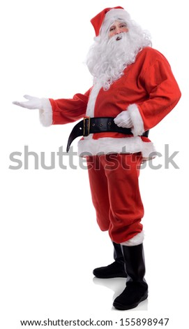Santa presenting to blank copy space isolated on a white background