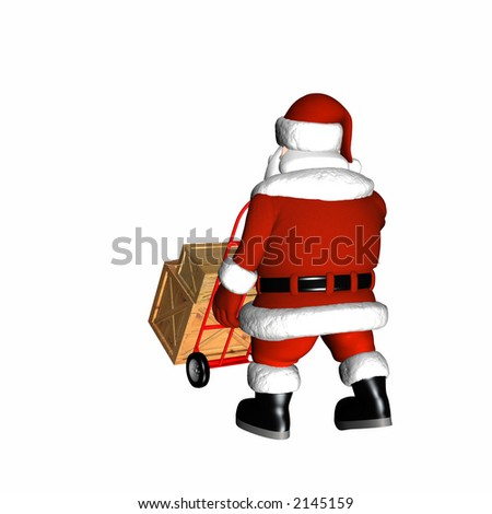 Santa pushing a hand cart with shipping crates. Isolated on a white background.