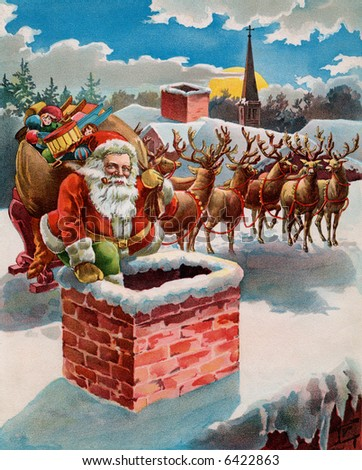 Santa, reindeer and sleigh on the roof top - circa 1899 illustration