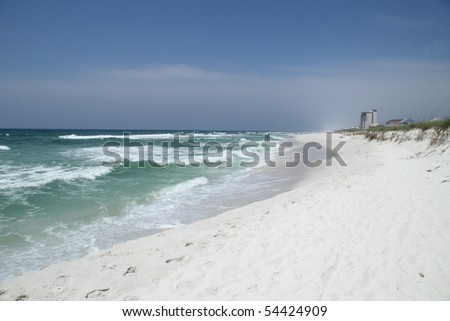 SANTA ROSA ISLAND, FL - MAY 9: Pristine white sand beach and tourism are threatened by the BP oil spill May 9th, 2010, on Santa Rosa Island, FL.