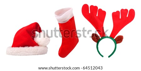 Santa's equipment: cap, stocking and reindeer attire. Christmas set on a white background