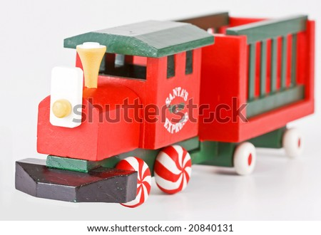 Santa's express toy train with peppermint candy wheels