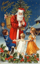 Santa's Greeting - an early 1900s vintage greeting card illustration.