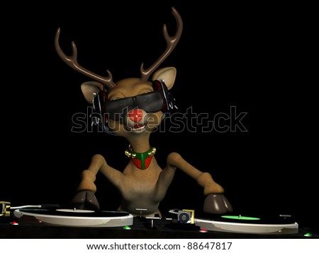 Santa's main reindeer Rudy's in Da House and mixing up some Christmas cheer.  Turntables with vinyl albums. Isolated on black.
