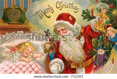 Santa's Midnight visit - an early 1900s vintage greeting card illustration.