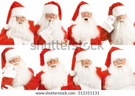 Santa's portraits with different emotions