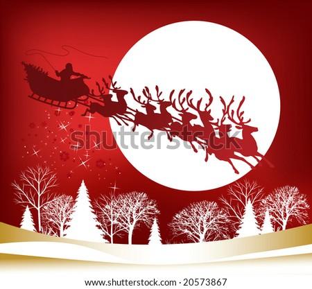Santa's Sleigh, raster version of vector illustration