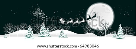Santa's sleigh.  Raster version of vector illustration.