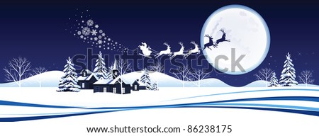 Santa's sleigh. Raster version of vector illustration