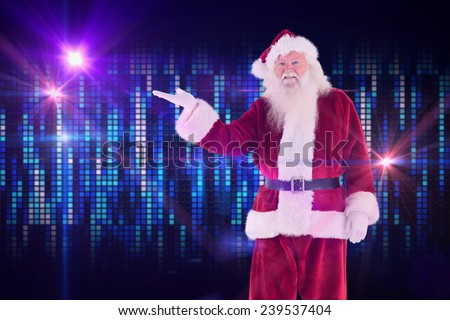 Santa shows something to camera against digitally generated cool pixel background