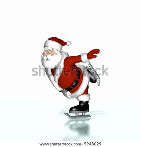 Santa skating on ice with an icy reflection.