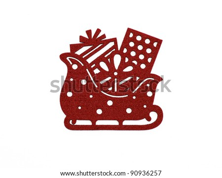 Santa Sled with gifts isolated on white background
