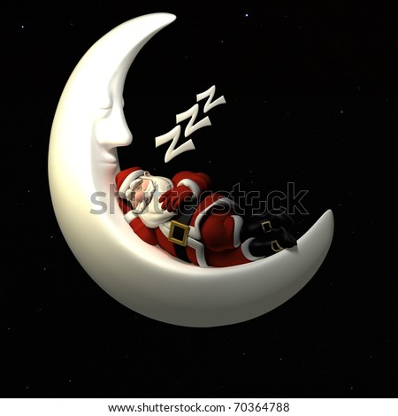 Santa Sleeping On the Crescent Moon in the Night Sky.