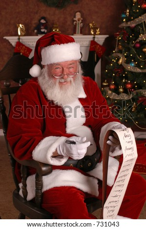 Santa Smiling With His List