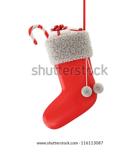 Santa Sock with Gifts isolated on white background