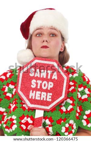 Santa stop here sign