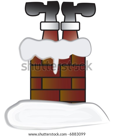 santa stuck in chimney vector also available