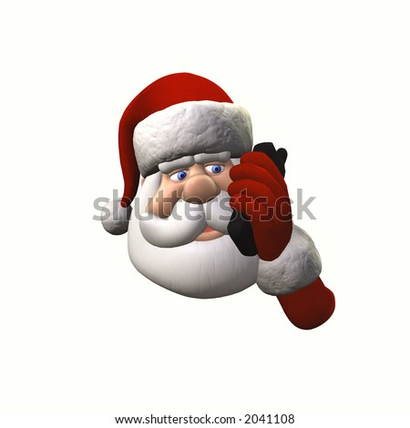 Santa talking on a cell phone.  Isolated on a white background.