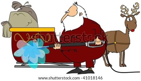 Santa Washing His Sleigh