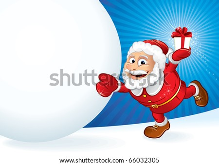 Santa with gift and huge snowball - illustration for your own text ---------> version eps vector at my gallery