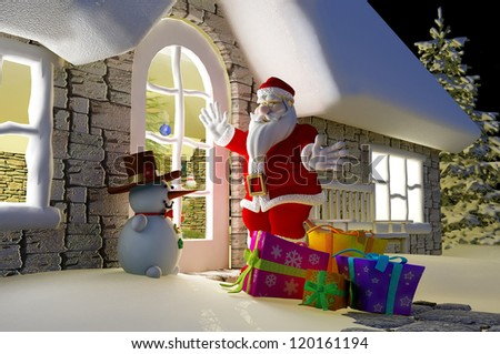 Santa with gifts around the house.